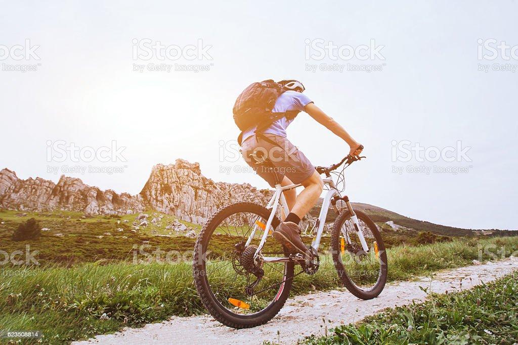 mountain bike, cycling outside stock photo