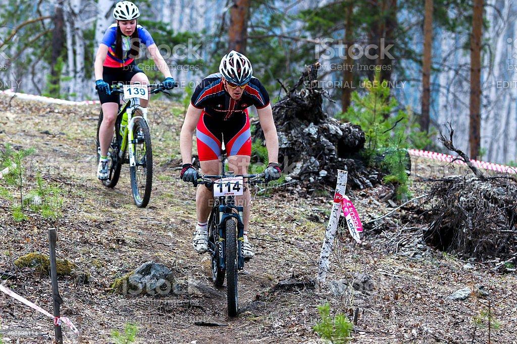 산악 자전거 cyclist 탑승형 외동 트랙형 royalty-free 스톡 사진