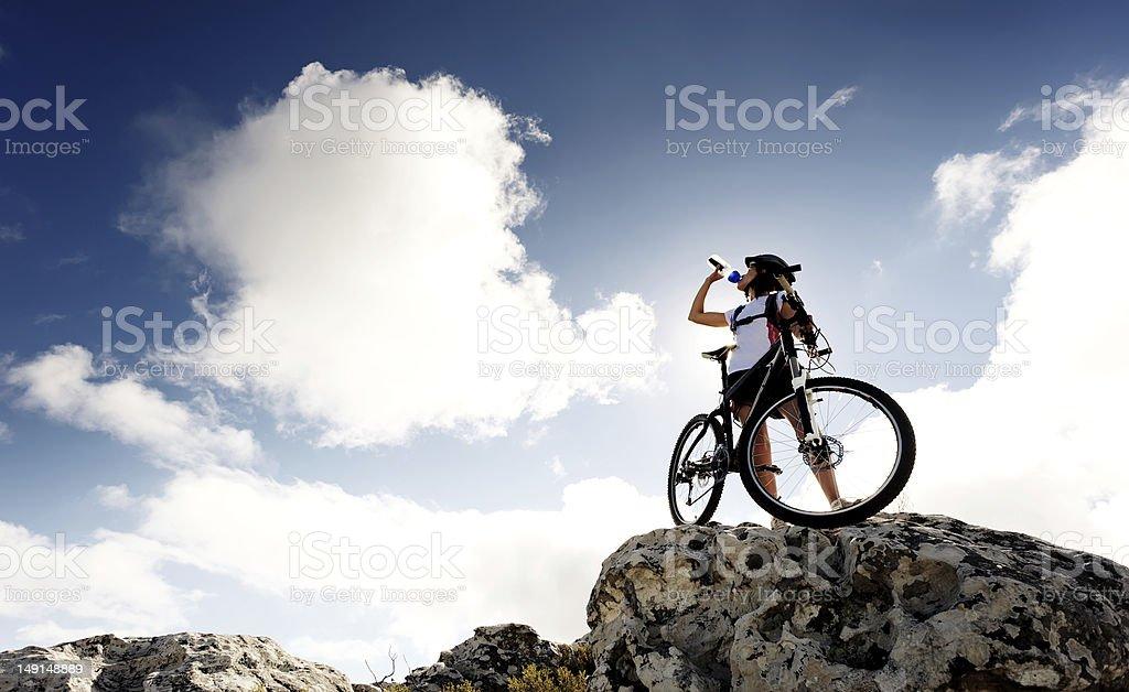 mountain bike drink stock photo
