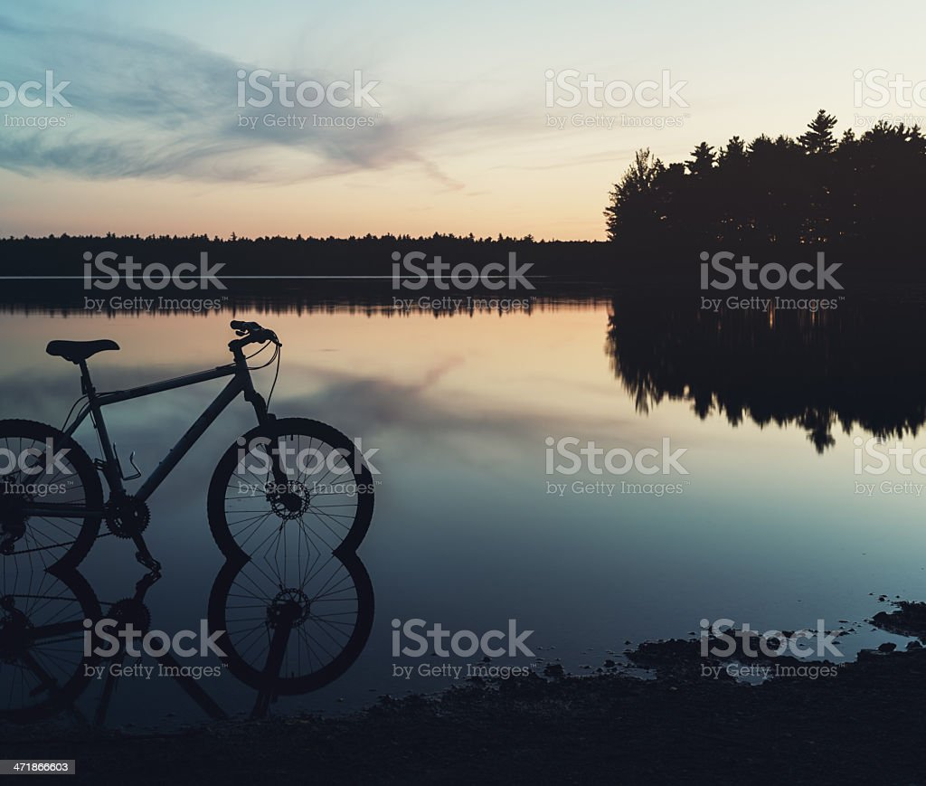 Mountain Bike in Lake stock photo
