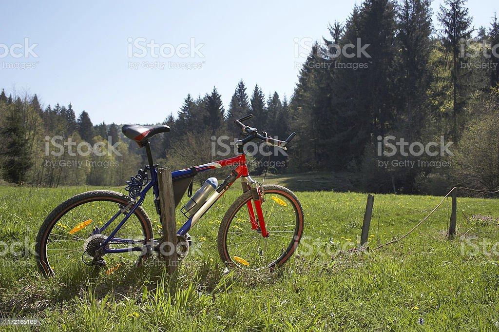 Mountain bike in scenic shoot stock photo
