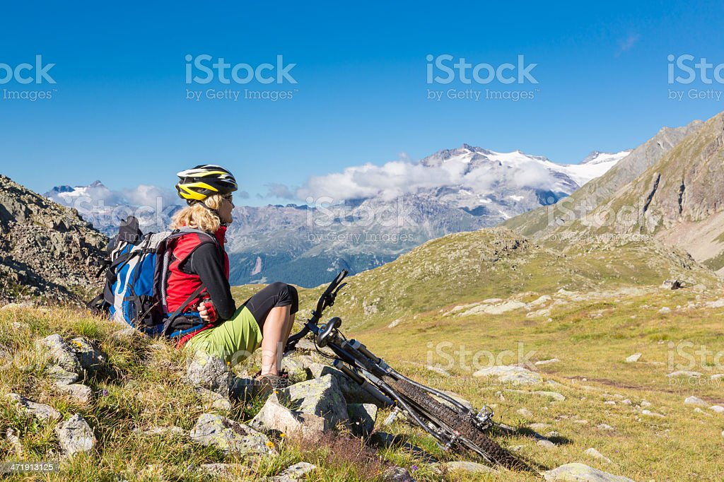 Mountainbike meditation royalty-free stock photo
