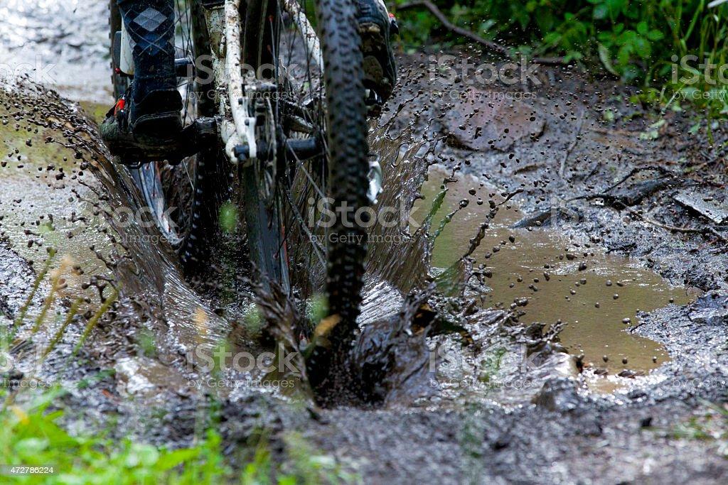 Mountain Bike Mud Puddle stock photo