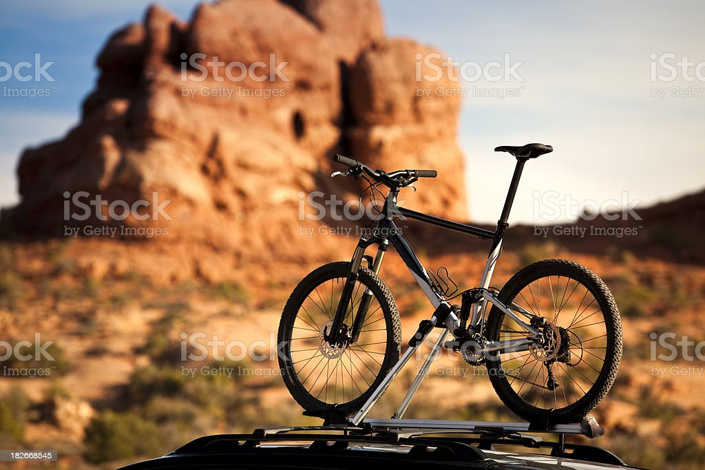 Mountain bike on a roof rack royalty-free stock photo