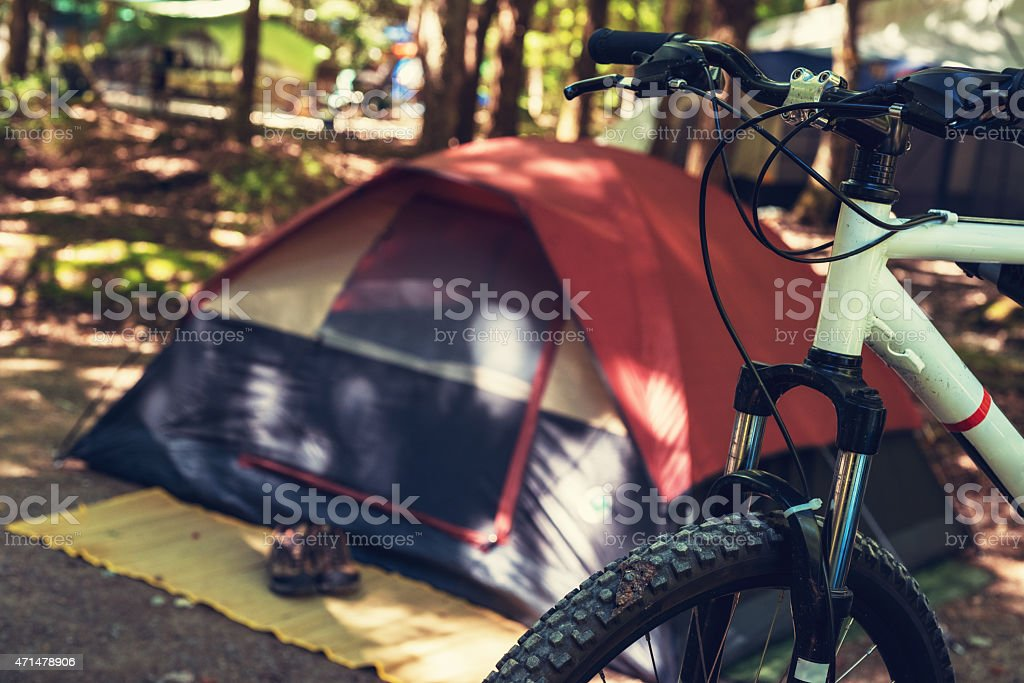 Mountain Bike on Campsite stock photo
