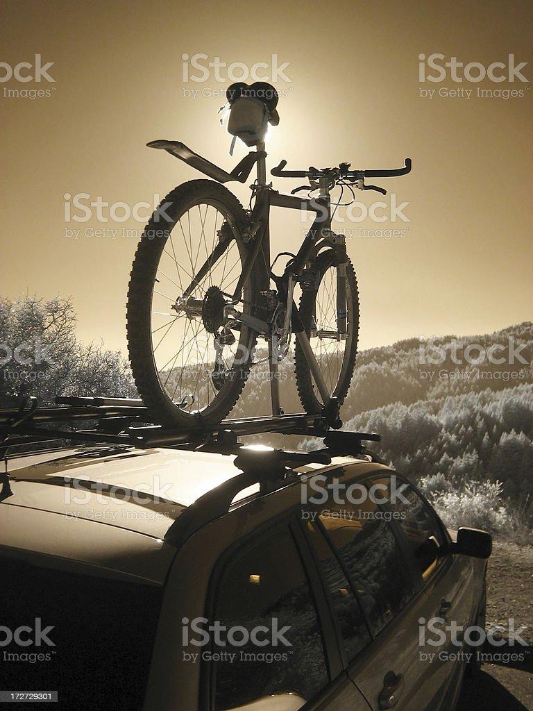 Mountain Bike on Car Rack royalty-free stock photo
