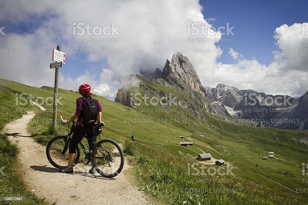 Mountain Bike on Italian Dolomites stock photo