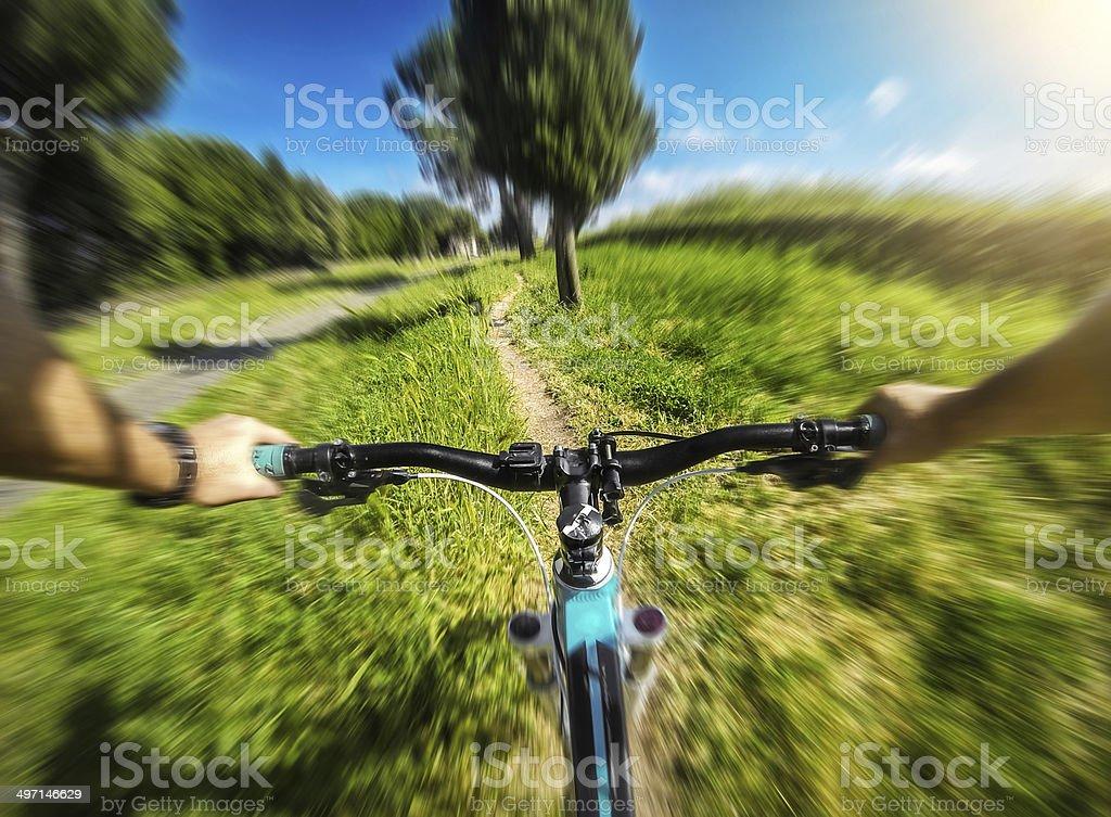 Mountain Bike on the Via Appia Antica stock photo
