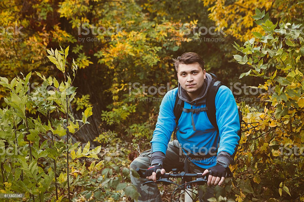 mountain bike race in a forest in denmark, stock photo