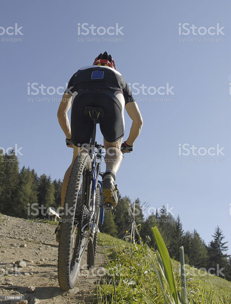 mountain bike race stock photo