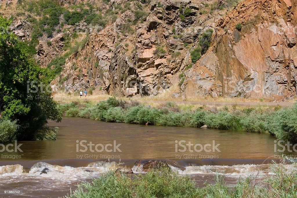 Mountain Bike Riders in Waterton Canyon Colorado royalty-free stock photo