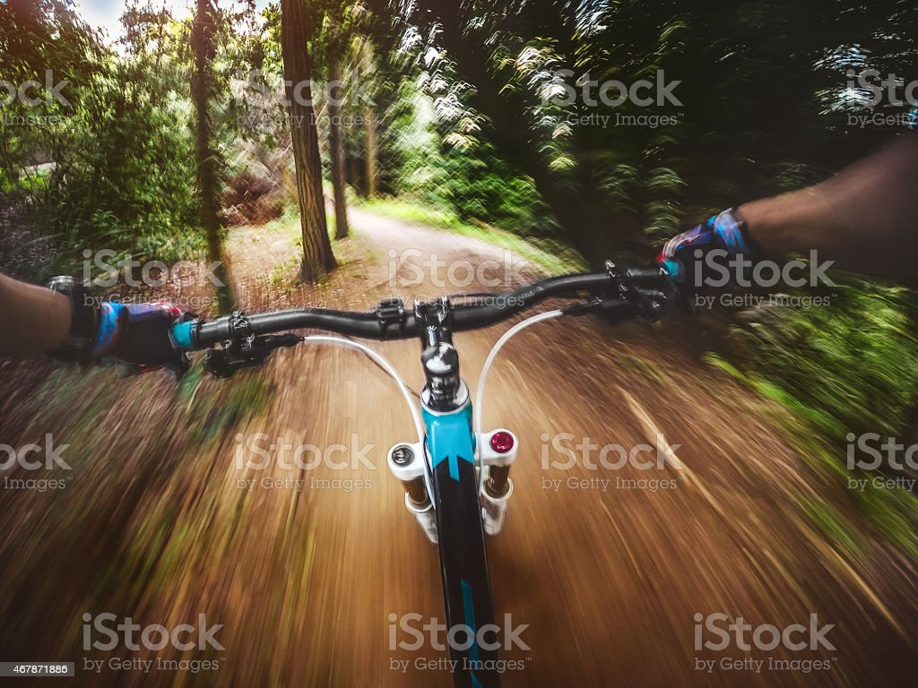 Mountain Bike: riding a fast single trail in the forest stock photo