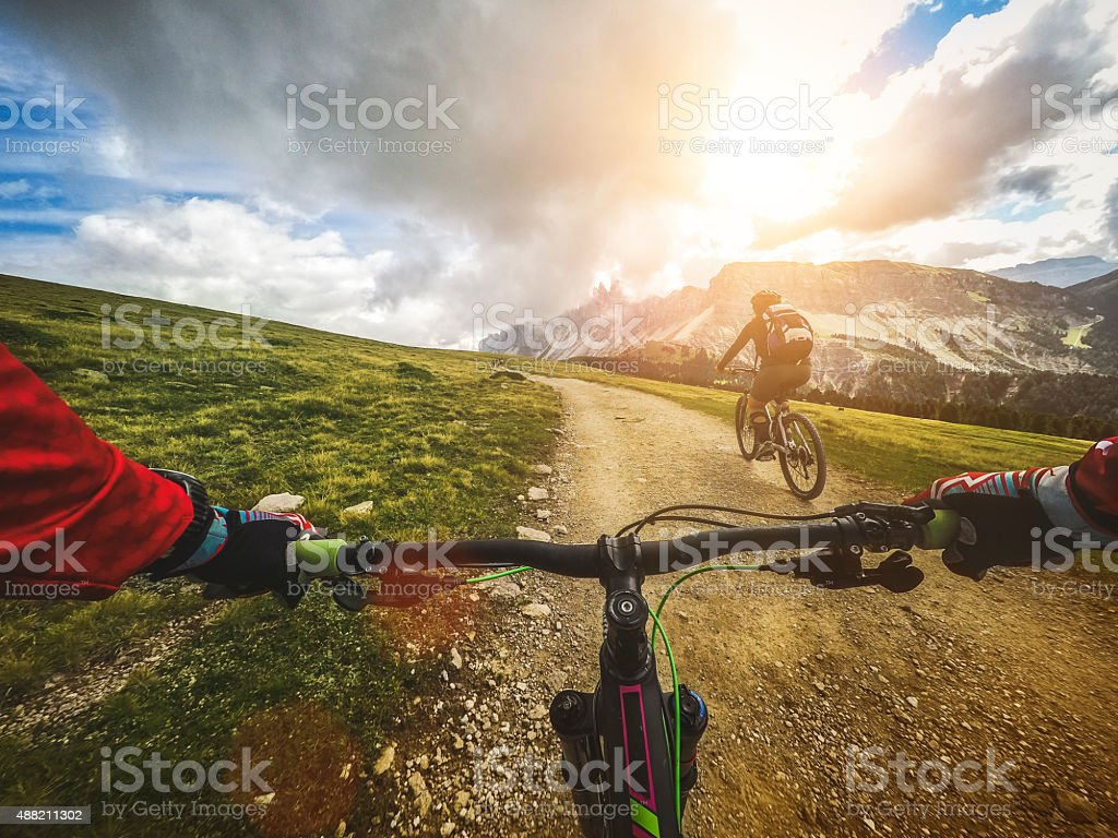 Mountain Bike: Single Trail in two stock photo