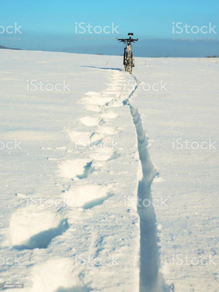 Mountain bike stay in deep snowdrift. Rear wheel detail. Snow on tyre stock photo