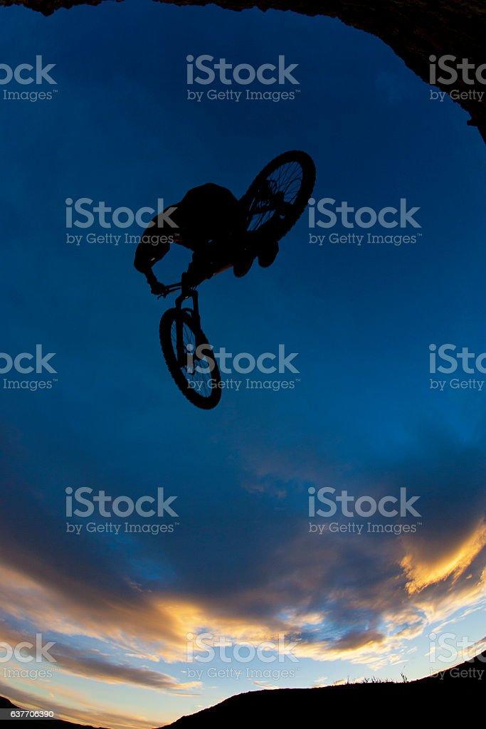 Mountain Bike Sunset Jump stock photo