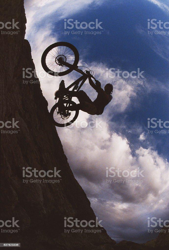 Mountain Bike Sunset Wheelie stock photo