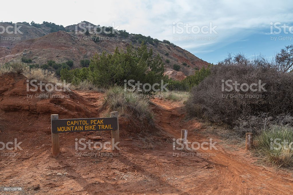 Mountain Bike Trail in Palo Duro Canyon stock photo