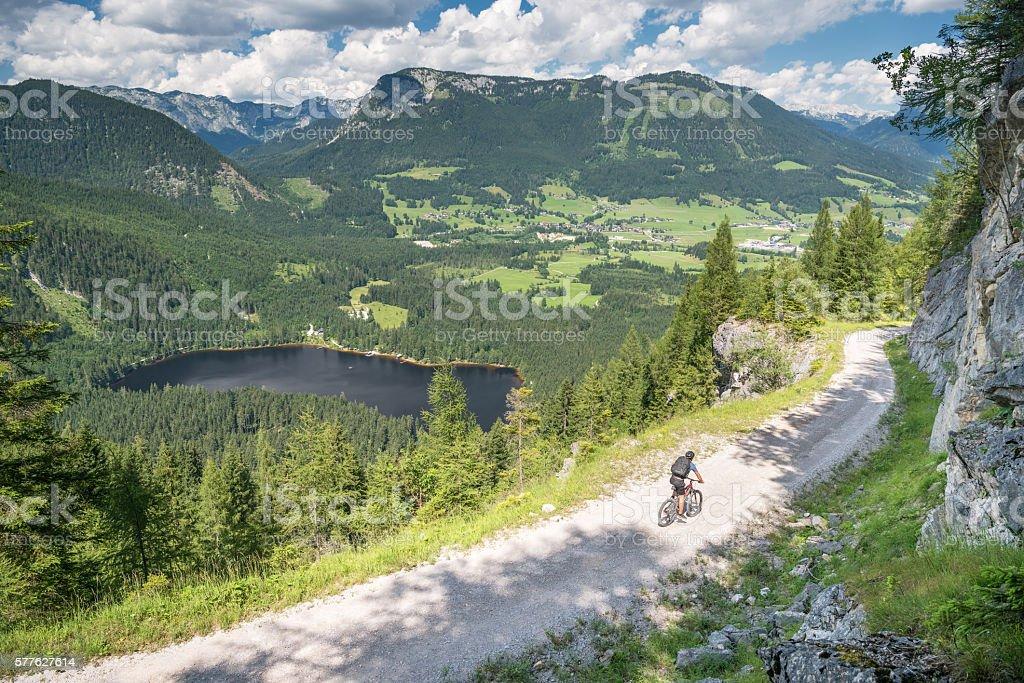 Mountain Bike Trail, Lake Ödensee, Austrian Alps Panorama stock photo