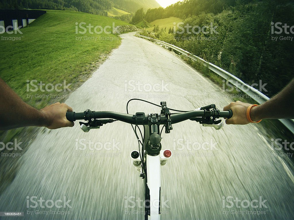 Mountain Bike Video: Long Descent on the Road stock photo