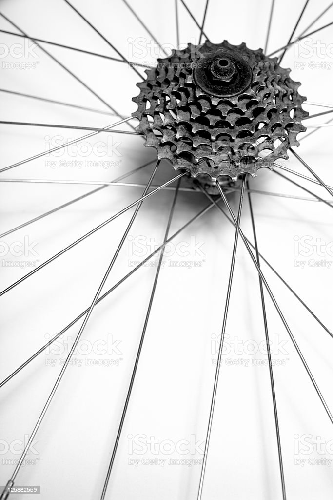 Mountain bike wheel axis close-up royalty-free stock photo