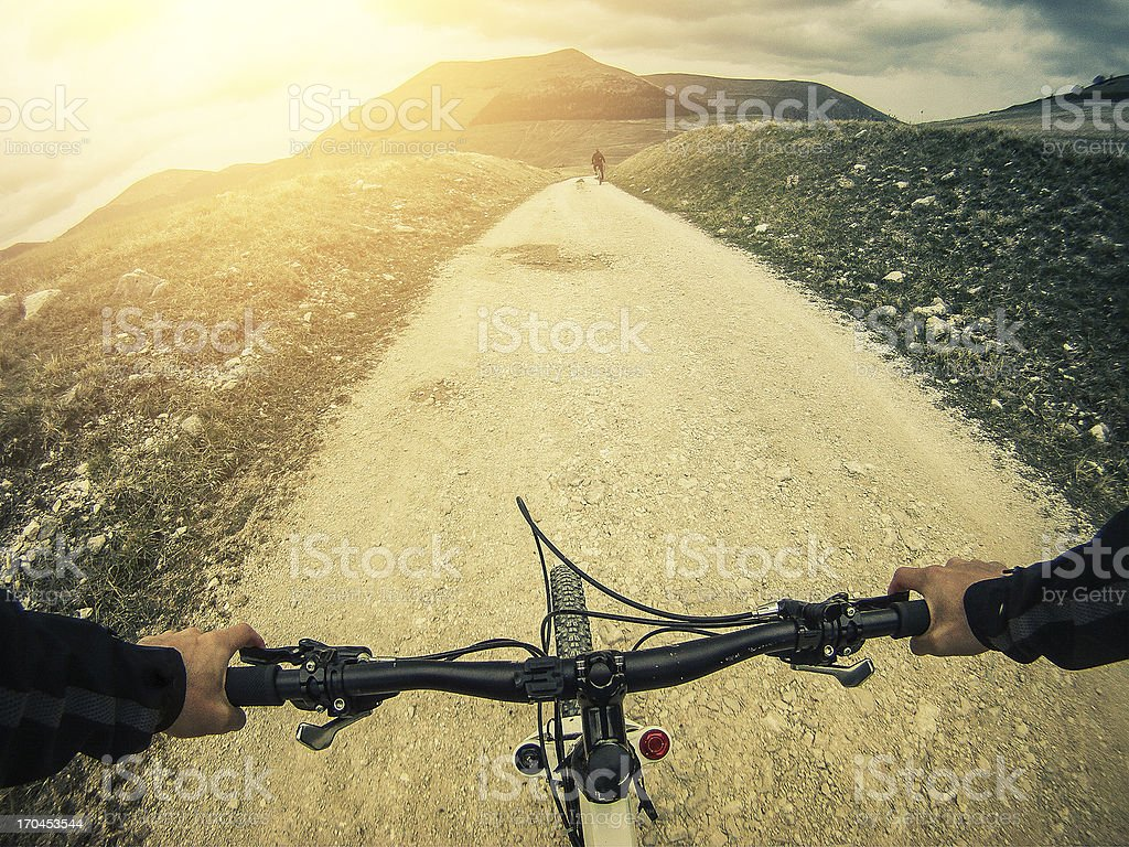 Mountain Bike: White Road Outdoor stock photo