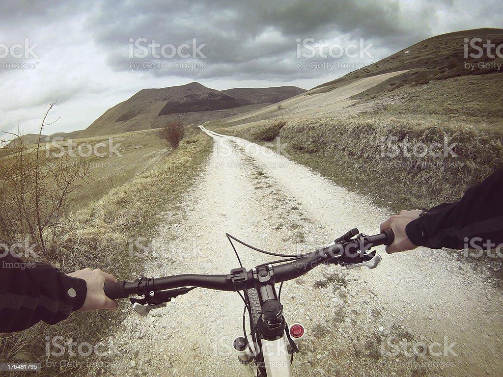 Mountain Bike: White Road Outdoor stock photo