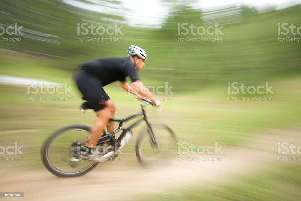 Mountain Biker at Speed royalty-free stock photo