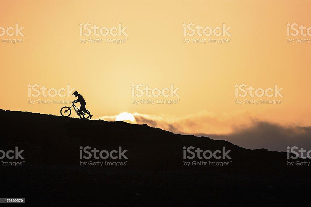 Mountain Biker at Sunset royalty-free stock photo