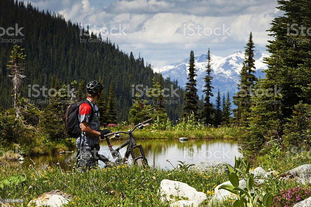 Mountain biker enjoying view. stock photo