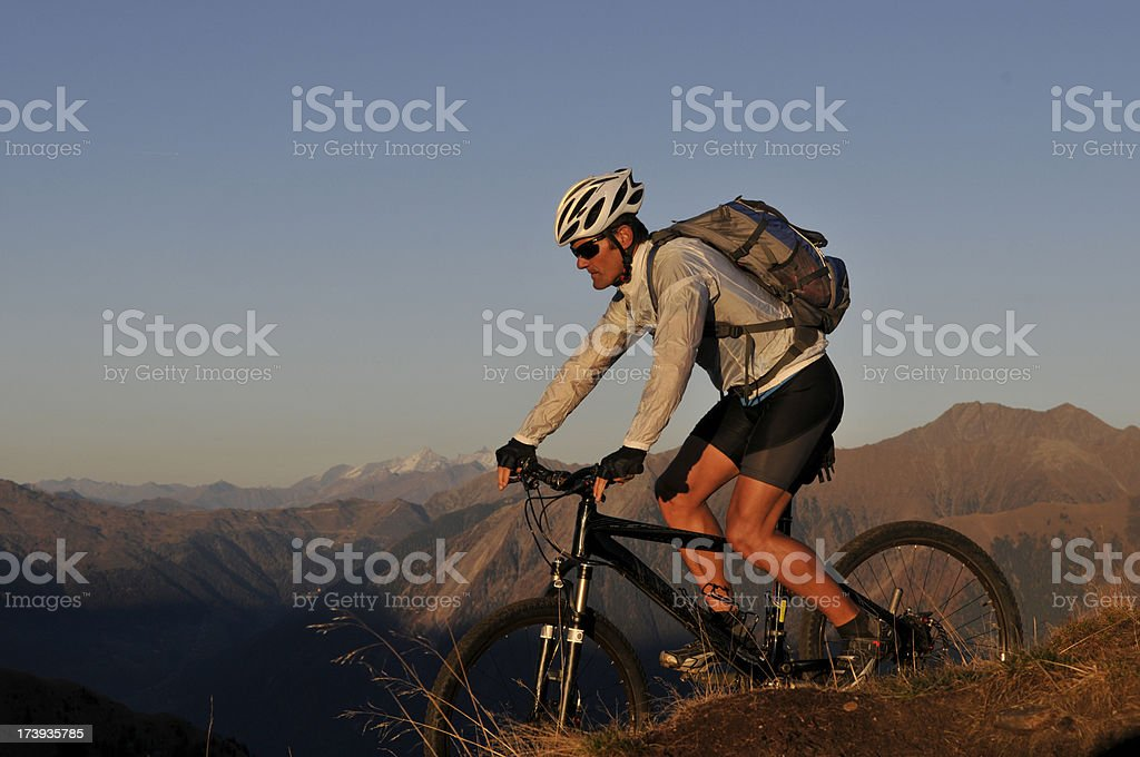 mountainbiker evening royalty-free stock photo