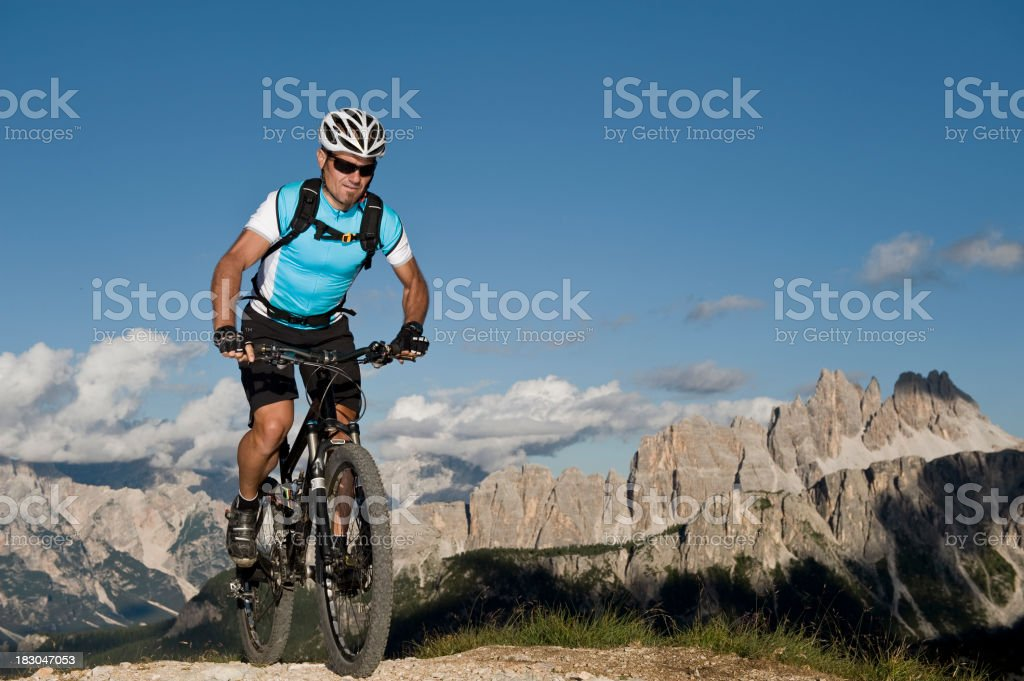 Mountain biker in action royalty-free stock photo