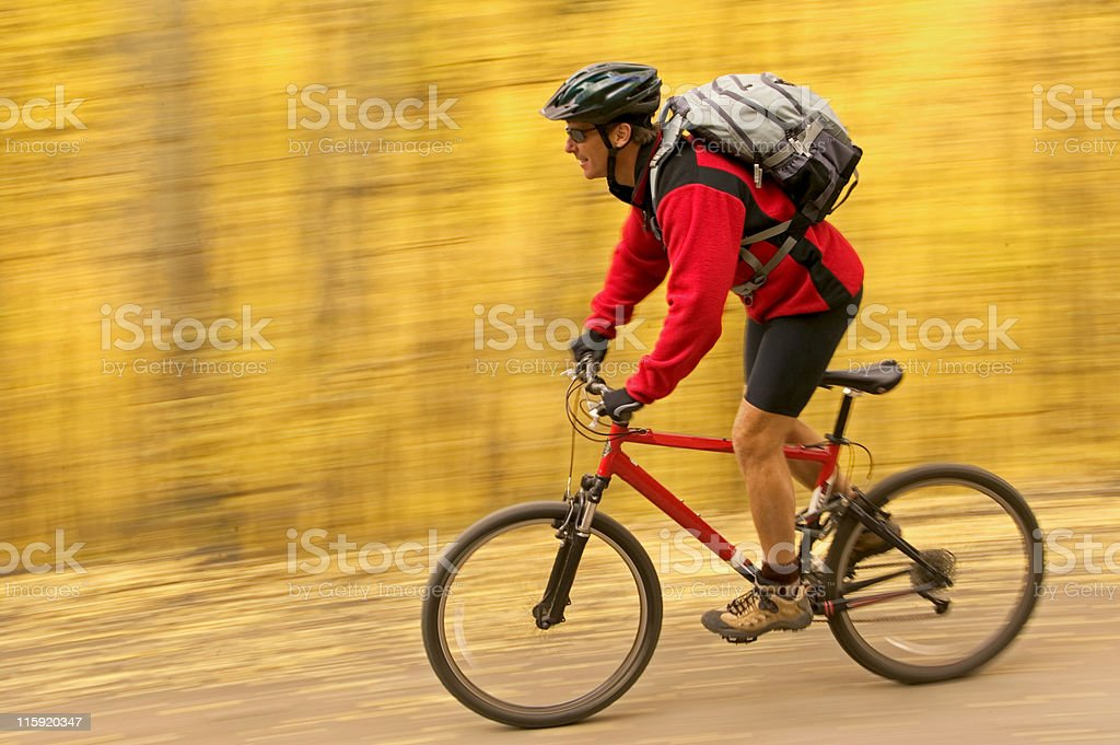 Mountain biker in blurred background royalty-free stock photo
