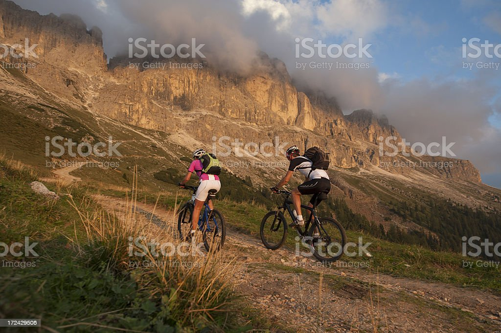Mountain biker in South Tyrol Dolomites royalty-free stock photo