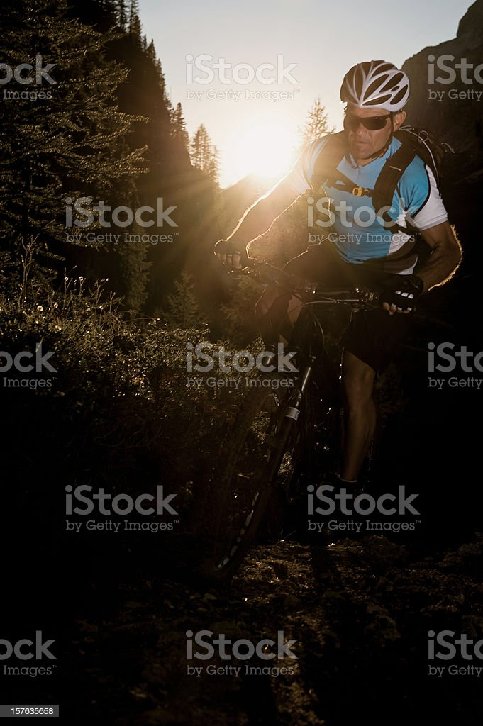 Mountain Biker in sunset royalty-free stock photo