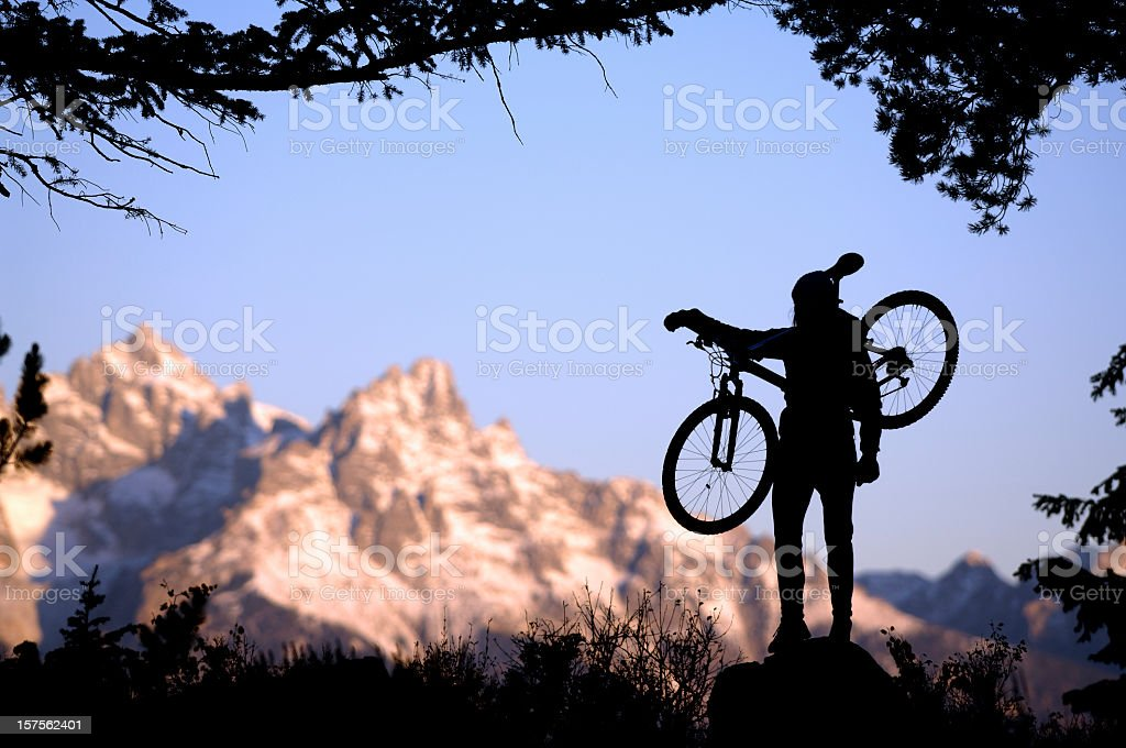 Mountain biker  in the Grand Tetons stock photo