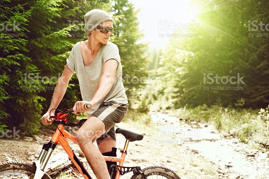 Mountain biker in the woods stock photo