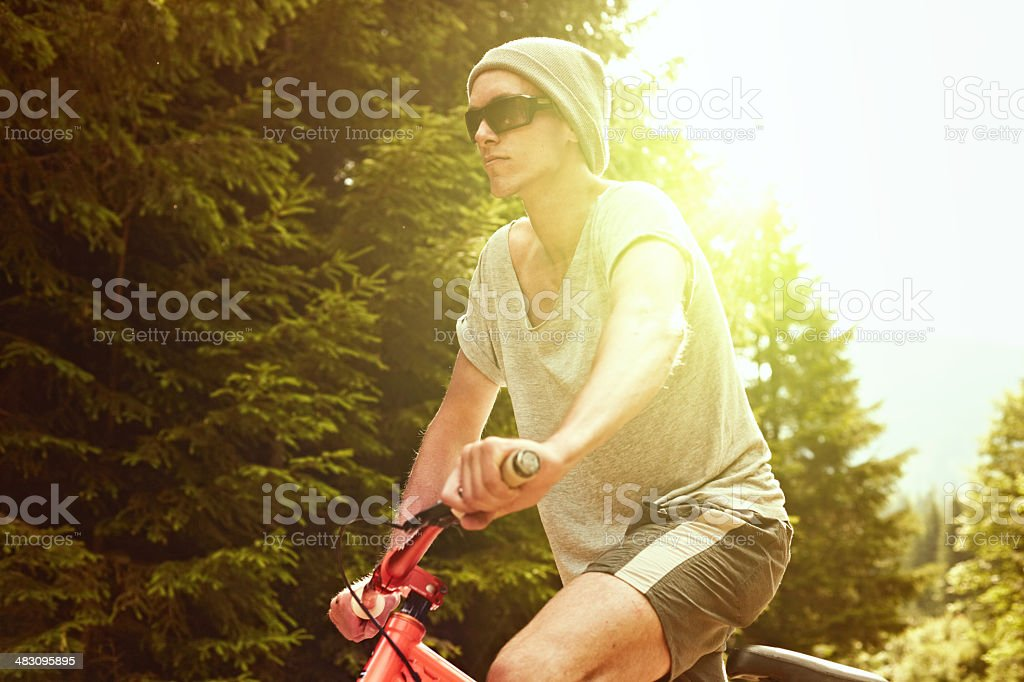 Mountain biker in the woods stock photo