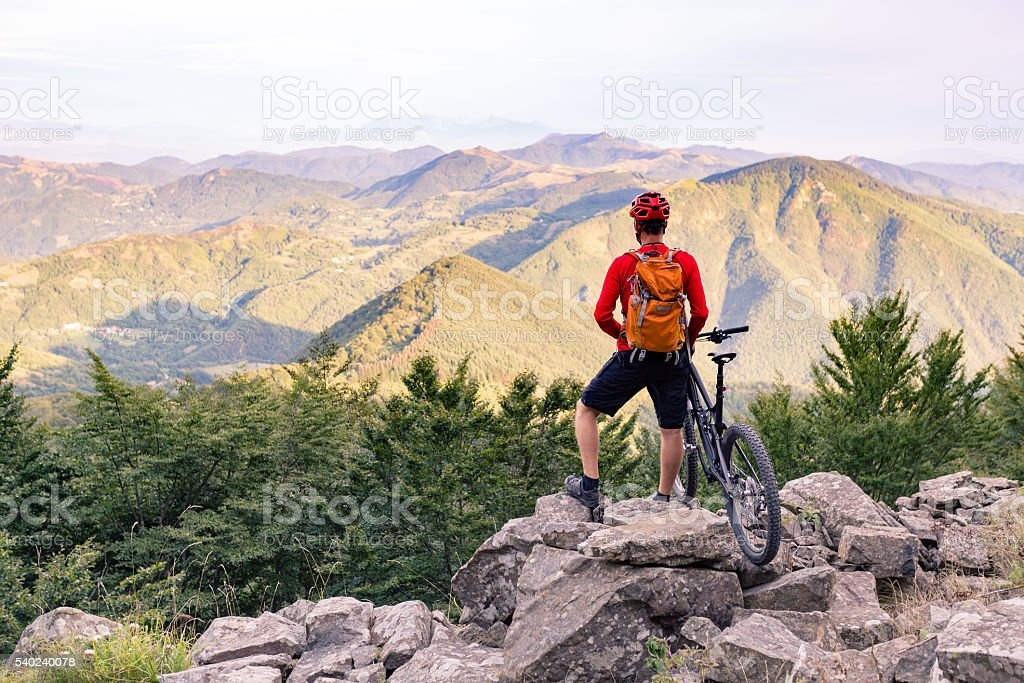 Mountain biker looking at view in autumn mountains stock photo