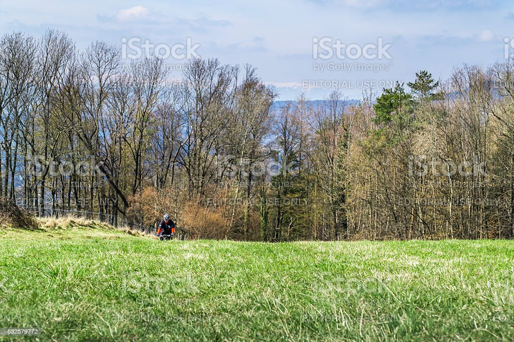 Mountain Biker on a Nature Trail stock photo