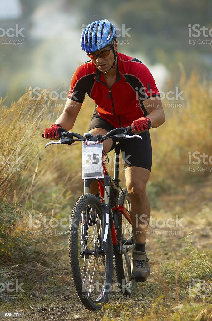 Mountain biker on race royalty-free stock photo