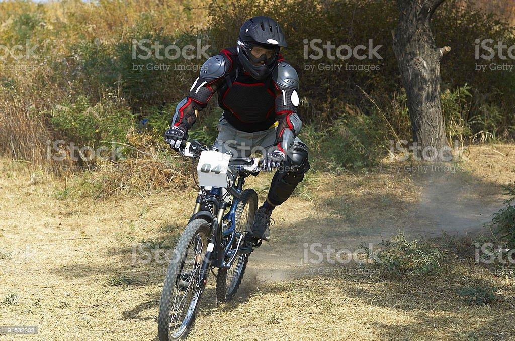 Mountain biker on race royalty-free stock photo
