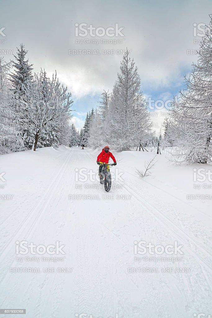 Mountain biker riding downhill on snow in winter. stock photo