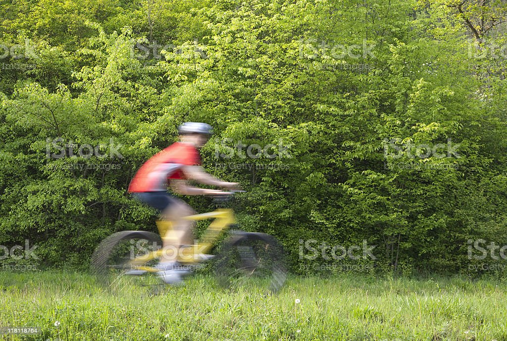 Mountain Biker Riding on Nature Trail royalty-free stock photo