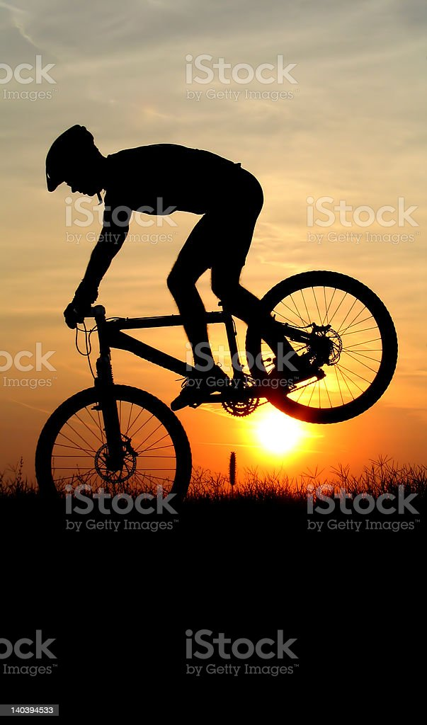 mountain biker silhouette royalty-free stock photo