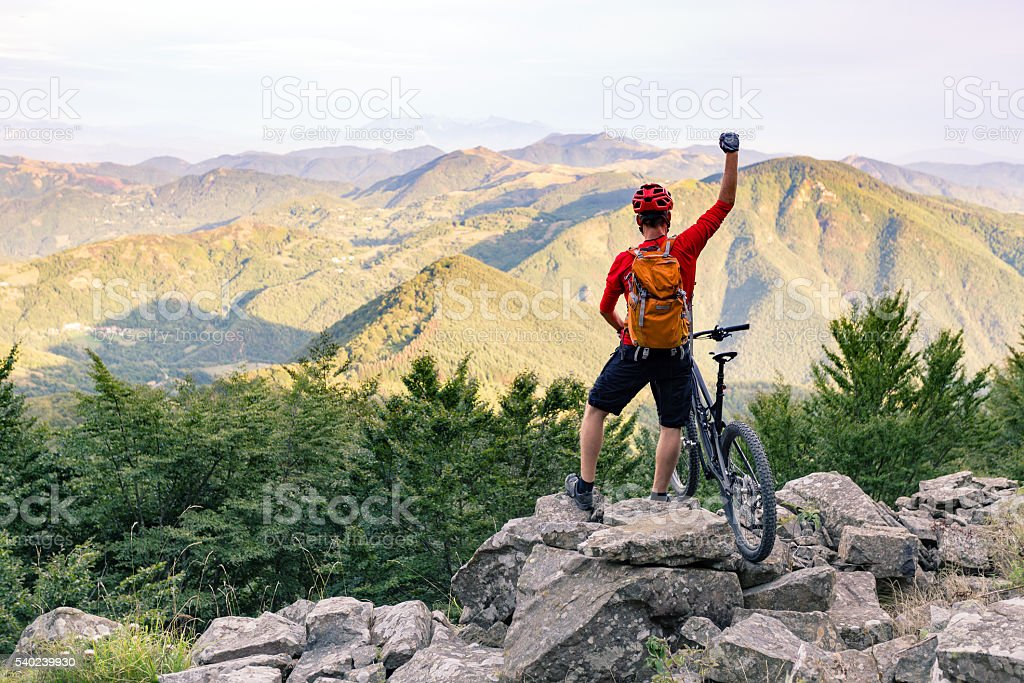 Mountain biker success, looking at mountains view stock photo