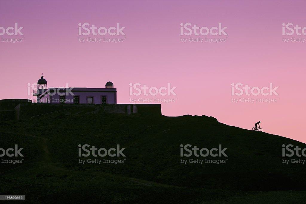 Mountain biker sunrise silhouette royalty-free stock photo