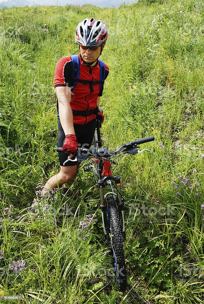 Mountain biker waits on green field royalty-free stock photo