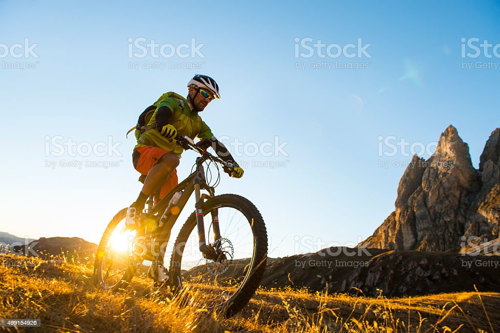 Mountain bikers attack stock photo