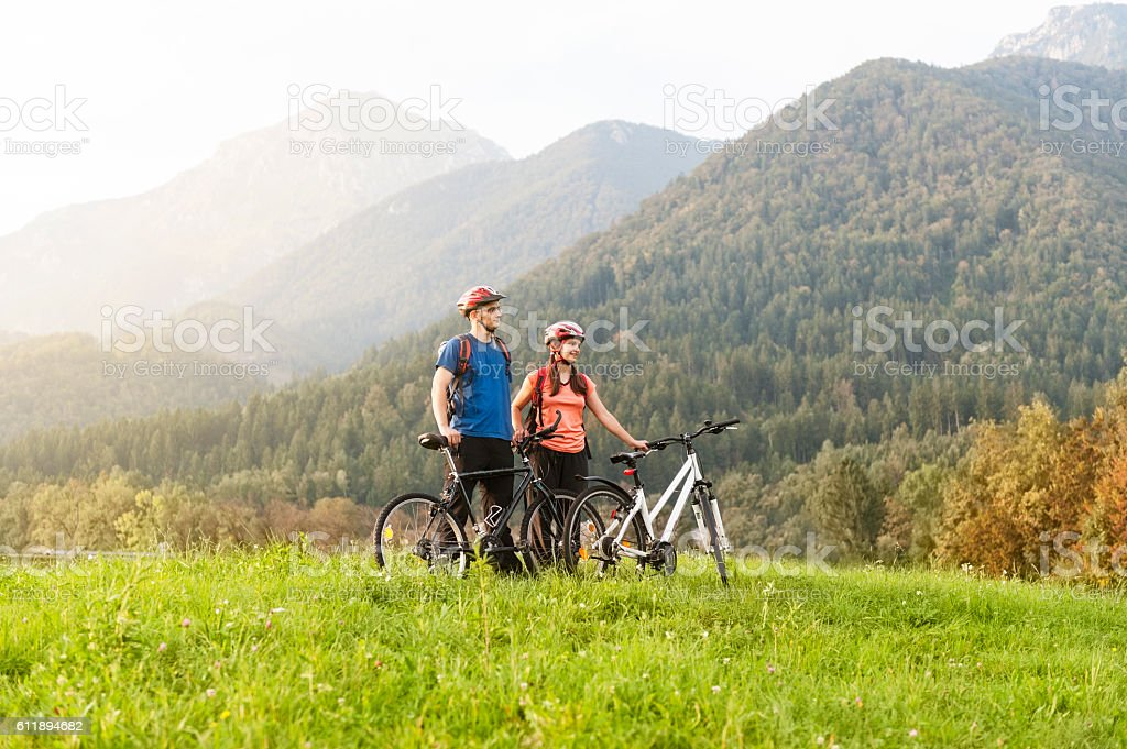 Mountain bikers stock photo