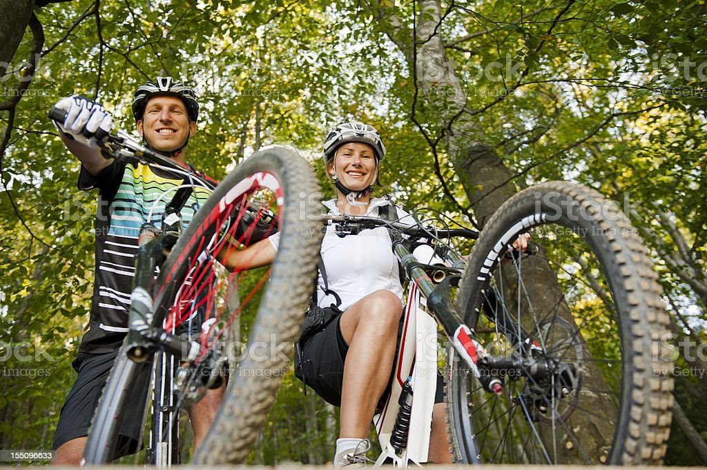 Mountain bikers ready for downhill royalty-free stock photo